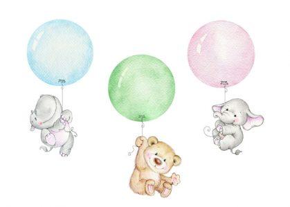 Vykort ballonger med djur